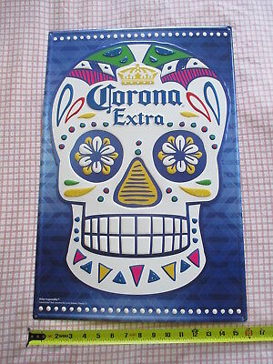 "CORONA EXTRA Beer METAL ADVERTISING SIGN Day of the Dead Skull 16x24"" NEW"
