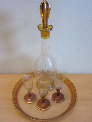 Antique etched crystal amber flashed Decanter, Cordial and under plate set
