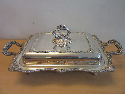 """Antique Large 24"""" Silverplate fancy covered double server W&S Blackinton 893/4"""