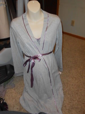 New Oh Baby Maternity Pajama Set Size Small 2pc Gown/Robe Gray/Prpl Nursing $54