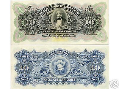 Costa  Rica 10 Colones  1911 Unc.  Gem 66