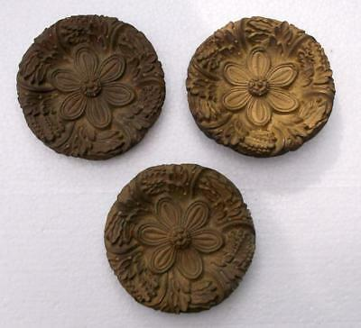 3 Antique French Circular Bronze Furniture Embellishments