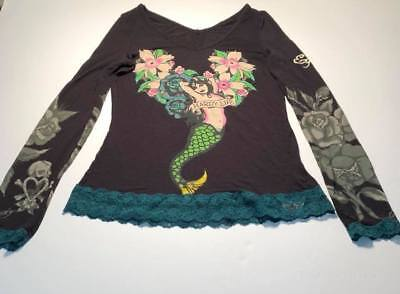 "Ed Hardy ""Hardy Life"" Mermaid ( JUNIOR GIRLS MEDIUM ) V-Neck Top with Lace Trim"
