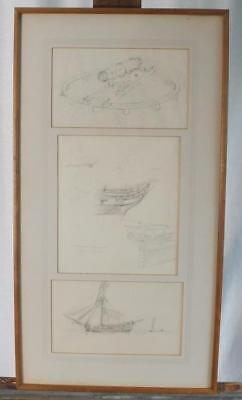 3 Framed  Pencil Drawings Of Ships By Etcher And Lithographer George C. Wales