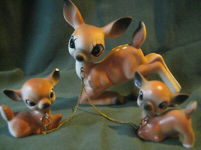 DEER vtg 50s 60s figurines Mother 2 babies fawns connected chains ceramic flaw
