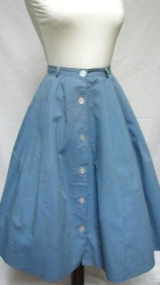 1950s Vintage BLUE COTTON BUTTON FRONT FLARED SKIRT