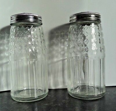 Two Vintage Glass Sugar Shakers