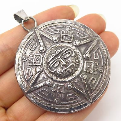 Vtg Mexico 925 Sterling Silver Tribal Aztec Design Large Hollow Pendant