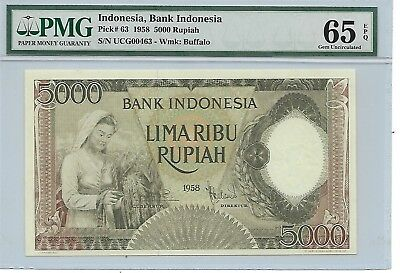 Indonesia, Bank Indonesia - 5000 Rupiah, 1958. Green color. PMG 65EPQ. Rare.