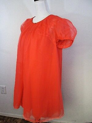 VINTAGE VANITY FAIR Double CHIFFON PEIGNOIR NIGHTGOWN SET 1960's Red Medium vtg