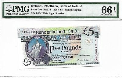 Ireland - Northern, Bank of Ireland - 5 pounds, 2003. PMG 66EPQ.