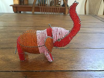 Large Beaded Wire Elephant Pink Red Orange Trunk Up for Good Luck