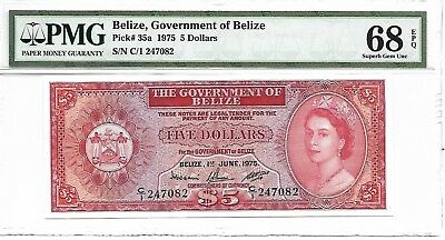 Belize, Government of Belize - $5, 1975. PMG 68EPQ. RARE.