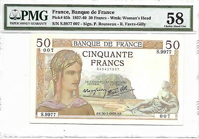 France, Banque de France - 50 Francs, 1939.AR. PMG 58. RARE.