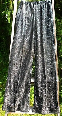 Vintage METALLIC BLACK & SILVER Polyester Cuffed BELL BOTTOMS Sz 8  DISCO FEVER!
