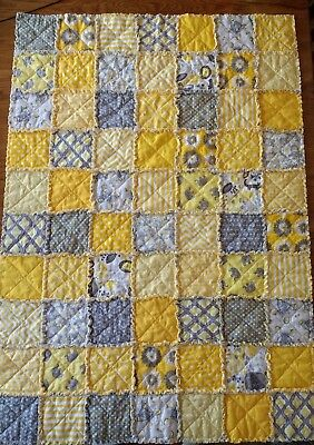 NEW! Crib size handmade rag QUILT Yellow & Gray for baby BOY or GIRL