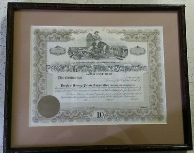 Rare Peoples Moving Picture Corporation Capital Stock $10,000 Certificate Framed