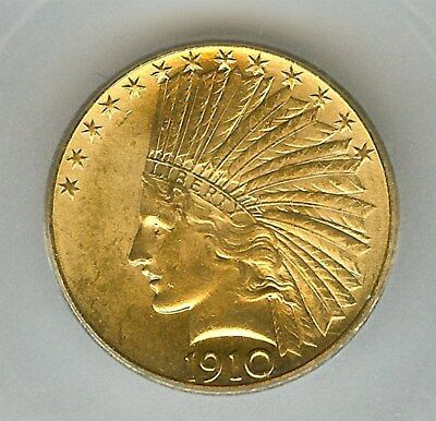 1910 Indian Head $10 Gold  Eagle  Icg Ms-64
