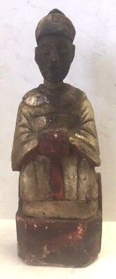 Antique Chinese Hand Carved / Painted Wood Temple  Figure:Paper Prayer  in Back