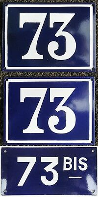 Large old blue French house number 73 B door gate plate plaque steel enamel sign