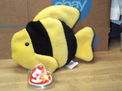 TY Beanie Baby Babies Bubbles Fish Yellow with Black Stripes 7-2-1995 retired