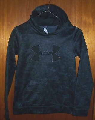 Boy's Under Armour Coldgear Loose Hoodie Black/gray Pattern Youth Med