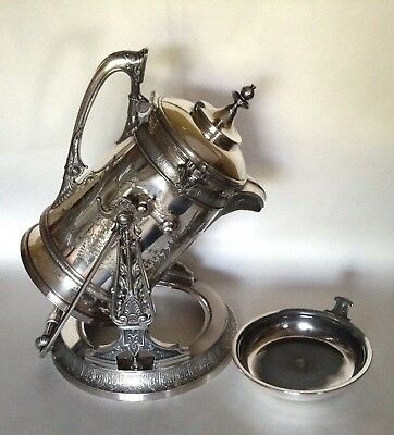 Circa 1870s Reed & Barton Victorian Tilting Water Pitcher & Stand  Silver Plate