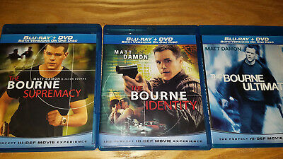 The Bourne Supremacy Ultimatum Identity 3 movies trilogy on Blu Ray disc used