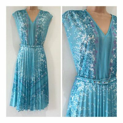 Vintage 70's Turquoise Blue Floral & Stripe Print Belted Pleated Tea Size 12-14