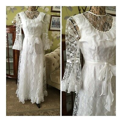 Vintage Late 70s White Floral Lace Ruffle Trim Belted Flare Cuff Wedding Dress 6