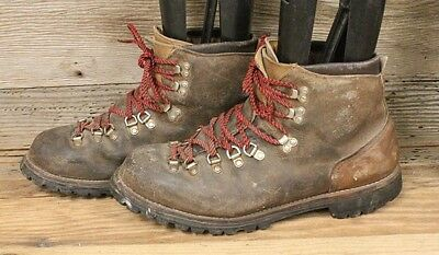 Vasque Mens Vintage Brown Leather Red Lace Hiking/mountaineering Boots Sz 13N