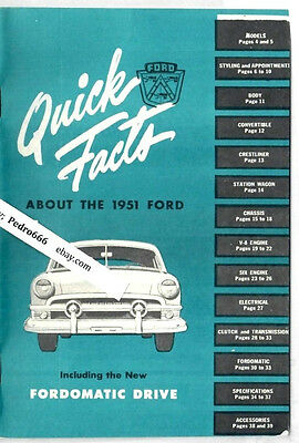 1951 Ford Quick Facts Brochure Vintage Auto Sales Buyers Guide Fordomatic Drive
