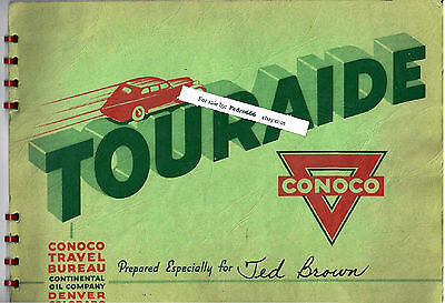 Conoco Gas Touraide 1938 Booklet USA South Custom Trip Map Vintage Advertising