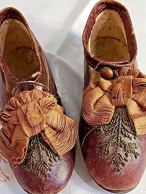Antique Childs Fancy Leather Dress Shoes W Fine Colored Bead Work & Bows Mkd. 20