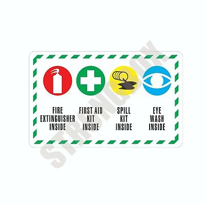 Industrial Safety Decal Sticker FIRE FIRST AID SPILL KIT EYE WASH INSIDE label