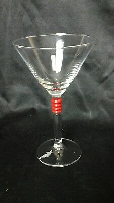 BEEFEATER Gin Martini Glass Etched Logo Red Band stem