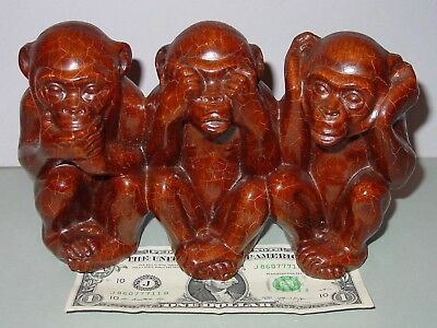 "Vintage BLACK FOREST Carved MONKEYS ""Speak, See, Hear No Evil"""