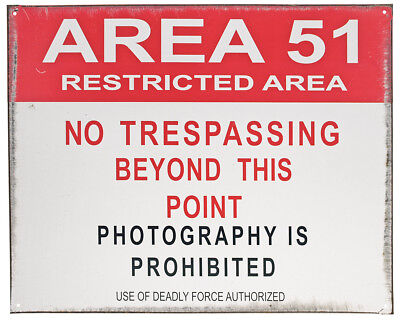 """""""Area 51"""" Restricted Area No Trespassing Tin Sign 15X12 Inches"""
