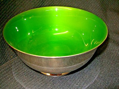 "Mid-Century Reed & Barton Silver Plated Enamel Bowl #1120 Lime Green 6.5""  Wide"