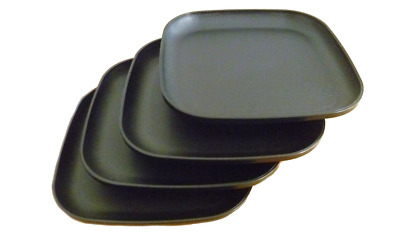 "Tupperware Plates Set of 4 Luncheon Size 8"" / 20cm Square Black Rare New"