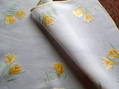 Lovely  Vintage Hand Embroidered Linen Tray Cloth~ Silky Smooth Delicate Crocus