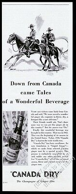 1930 RCMP Mountie horse art Canada Dry Pale Ginger Ale vintage print ad