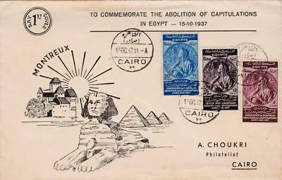 Egypt 1937 Illustrated Fdc Abolition Of Capitulations Set Sphinx + Pyramids