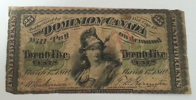 1870 25 Cents Canada Shinplaster Currency Banknote ~ Dominion Of Canada!