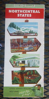 1954 Northcentral  United States road map Cities Service gas