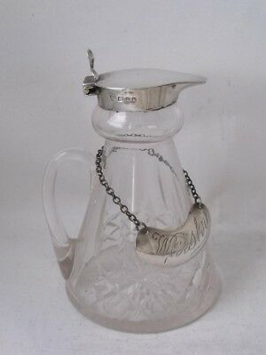 Good Cut Glass & Sterling Silver Whiskey Noggin/ Jug 1936/ H 9.5 cm