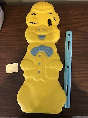 Vintage Yellow Pig Blow Mold Bank Plastic 1960's A J Renzi Corp
