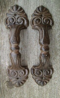 """Set of 2 Large 8.5"""" Fancy Cast Iron Gate Barn Door Shed Pull Handle Brown Finish"""