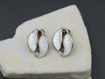1950s David Andersen Willy Winnaess Sterling White Enamel Leaf Clip On Earrings