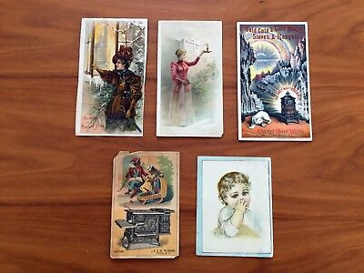 Lot of 5 wood stove trading cards postcards Round Oak Burr Oak Gold Coin Garland